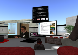 James presenting his paper as I look on in 2nd Life and in the conference room!